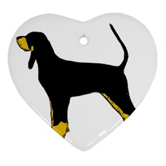 Black And Tan Coonhound Silo Color Heart Ornament (Two Sides)