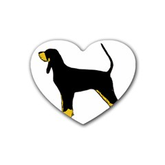 Black And Tan Coonhound Silo Color Rubber Coaster (Heart)
