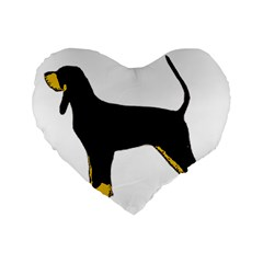 Black And Tan Coonhound Silo Color Standard 16  Premium Heart Shape Cushions