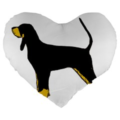 Black And Tan Coonhound Silo Color Large 19  Premium Heart Shape Cushions