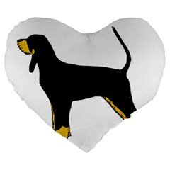 Black And Tan Coonhound Silo Color Large 19  Premium Flano Heart Shape Cushions