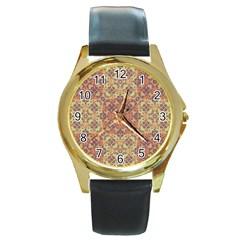Vintage Ornate Baroque Round Gold Metal Watch