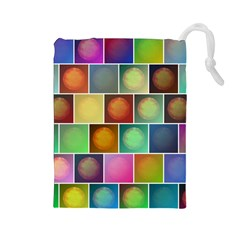 Multicolored Suns Drawstring Pouches (Large)