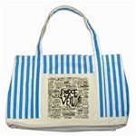 Pierce The Veil Music Band Group Fabric Art Cloth Poster Striped Blue Tote Bag Front