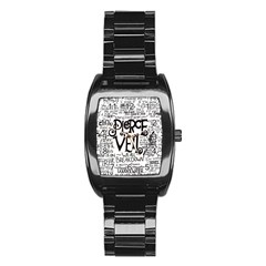 Pierce The Veil Music Band Group Fabric Art Cloth Poster Stainless Steel Barrel Watch