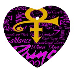 Prince Poster Heart Ornament (two Sides)