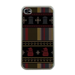Tardis Doctor Who Ugly Holiday Apple iPhone 4 Case (Clear)