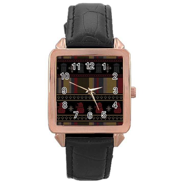 Tardis Doctor Who Ugly Holiday Rose Gold Leather Watch