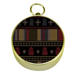 Tardis Doctor Who Ugly Holiday Gold Compasses