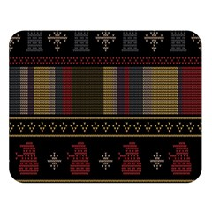 Tardis Doctor Who Ugly Holiday Double Sided Flano Blanket (Large)