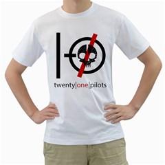 Twenty One Pilots Skull Men s T Shirt (white) (two Sided)