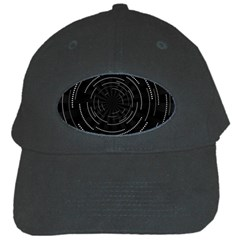 Abstract Black White Geometric Arcs Triangles Wicker Structural Texture Hole Circle Black Cap
