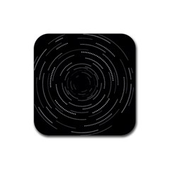Abstract Black White Geometric Arcs Triangles Wicker Structural Texture Hole Circle Rubber Square Coaster (4 pack)