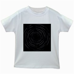 Abstract Black White Geometric Arcs Triangles Wicker Structural Texture Hole Circle Kids White T-Shirts