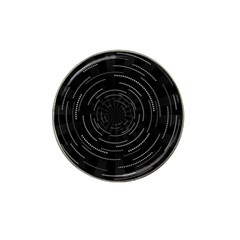 Abstract Black White Geometric Arcs Triangles Wicker Structural Texture Hole Circle Hat Clip Ball Marker (4 pack)