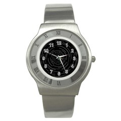 Abstract Black White Geometric Arcs Triangles Wicker Structural Texture Hole Circle Stainless Steel Watch
