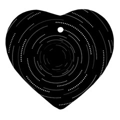 Abstract Black White Geometric Arcs Triangles Wicker Structural Texture Hole Circle Heart Ornament (Two Sides)