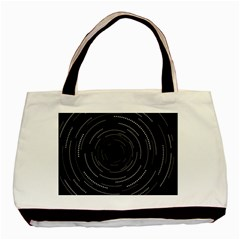 Abstract Black White Geometric Arcs Triangles Wicker Structural Texture Hole Circle Basic Tote Bag (Two Sides)