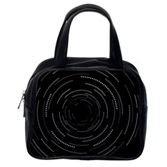 Abstract Black White Geometric Arcs Triangles Wicker Structural Texture Hole Circle Classic Handbags (One Side)