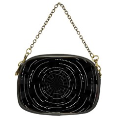 Abstract Black White Geometric Arcs Triangles Wicker Structural Texture Hole Circle Chain Purses (Two Sides)