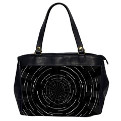 Abstract Black White Geometric Arcs Triangles Wicker Structural Texture Hole Circle Office Handbags (2 Sides)