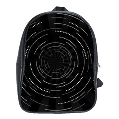 Abstract Black White Geometric Arcs Triangles Wicker Structural Texture Hole Circle School Bags (XL)