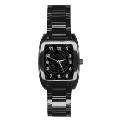 Abstract Black White Geometric Arcs Triangles Wicker Structural Texture Hole Circle Stainless Steel Barrel Watch