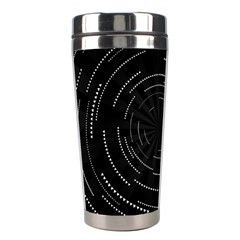 Abstract Black White Geometric Arcs Triangles Wicker Structural Texture Hole Circle Stainless Steel Travel Tumblers