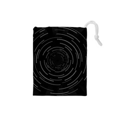 Abstract Black White Geometric Arcs Triangles Wicker Structural Texture Hole Circle Drawstring Pouches (Small)