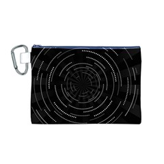 Abstract Black White Geometric Arcs Triangles Wicker Structural Texture Hole Circle Canvas Cosmetic Bag (M)