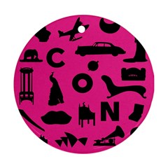Car Plan Pinkcover Outside Ornament (Round)