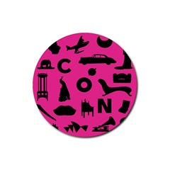 Car Plan Pinkcover Outside Rubber Coaster (Round)