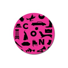 Car Plan Pinkcover Outside Magnet 3  (Round)