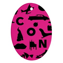 Car Plan Pinkcover Outside Oval Ornament (Two Sides)