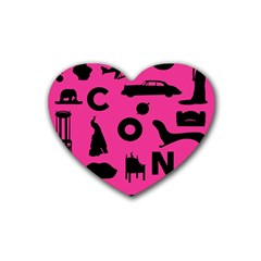 Car Plan Pinkcover Outside Heart Coaster (4 pack)