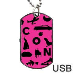 Car Plan Pinkcover Outside Dog Tag USB Flash (One Side)