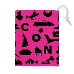 Car Plan Pinkcover Outside Drawstring Pouches (Extra Large)