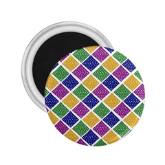 African Illutrations Plaid Color Rainbow Blue Green Yellow Purple White Line Chevron Wave Polkadot 2 25  Magnets