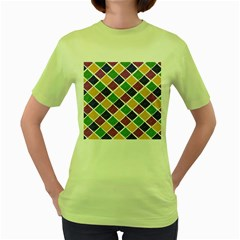African Illutrations Plaid Color Rainbow Blue Green Yellow Purple White Line Chevron Wave Polkadot Women s Green T-Shirt