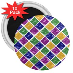 African Illutrations Plaid Color Rainbow Blue Green Yellow Purple White Line Chevron Wave Polkadot 3  Magnets (10 pack)