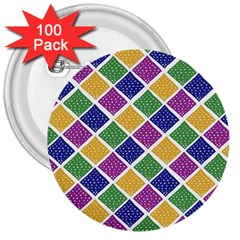 African Illutrations Plaid Color Rainbow Blue Green Yellow Purple White Line Chevron Wave Polkadot 3  Buttons (100 pack)