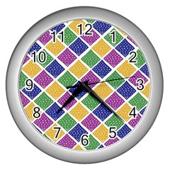 African Illutrations Plaid Color Rainbow Blue Green Yellow Purple White Line Chevron Wave Polkadot Wall Clocks (Silver)