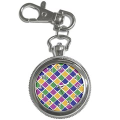 African Illutrations Plaid Color Rainbow Blue Green Yellow Purple White Line Chevron Wave Polkadot Key Chain Watches