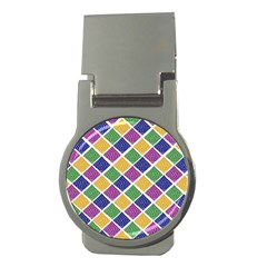 African Illutrations Plaid Color Rainbow Blue Green Yellow Purple White Line Chevron Wave Polkadot Money Clips (Round)