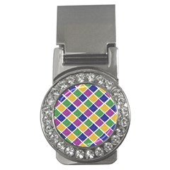 African Illutrations Plaid Color Rainbow Blue Green Yellow Purple White Line Chevron Wave Polkadot Money Clips (CZ)