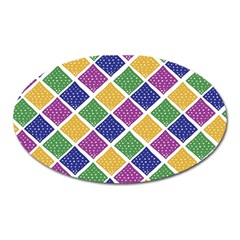 African Illutrations Plaid Color Rainbow Blue Green Yellow Purple White Line Chevron Wave Polkadot Oval Magnet