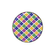 African Illutrations Plaid Color Rainbow Blue Green Yellow Purple White Line Chevron Wave Polkadot Hat Clip Ball Marker (4 pack)