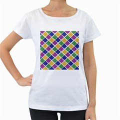 African Illutrations Plaid Color Rainbow Blue Green Yellow Purple White Line Chevron Wave Polkadot Women s Loose-Fit T-Shirt (White)