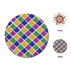 African Illutrations Plaid Color Rainbow Blue Green Yellow Purple White Line Chevron Wave Polkadot Playing Cards (Round)