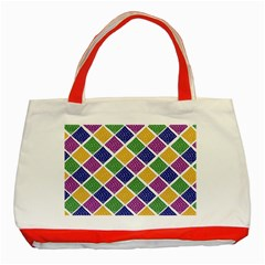 African Illutrations Plaid Color Rainbow Blue Green Yellow Purple White Line Chevron Wave Polkadot Classic Tote Bag (Red)